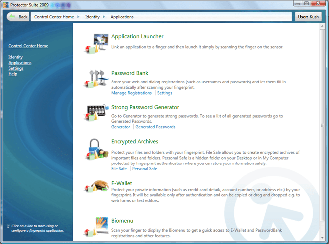 Applications Tab in Protector Suite 2009