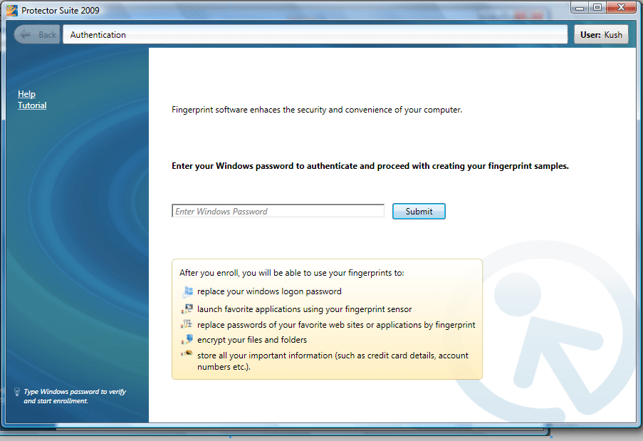 Windows Password in Protector Suite 2009