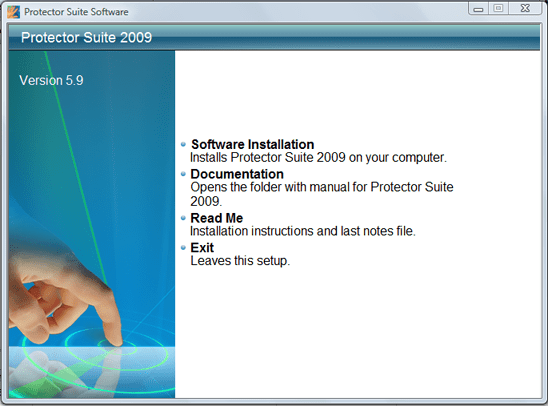 Upek Protector Suite 2009 Installation Screen