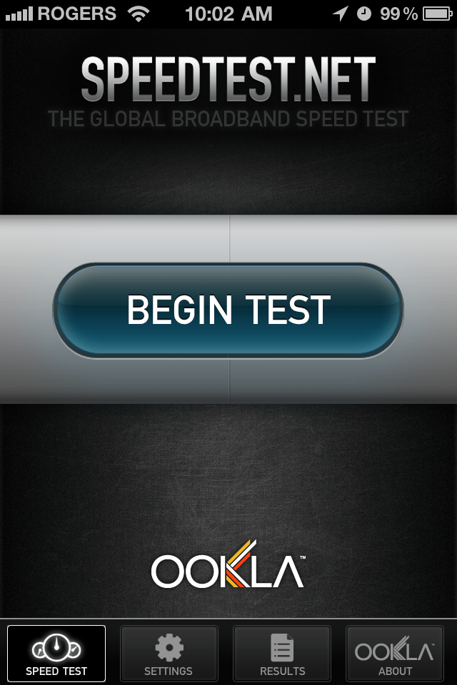 Speedtest Main Screen