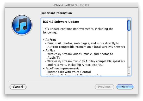 iOS 4.2 changelog iOS 4.2.1 released today