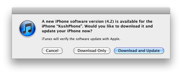 iOS 4.2 Update iTunes